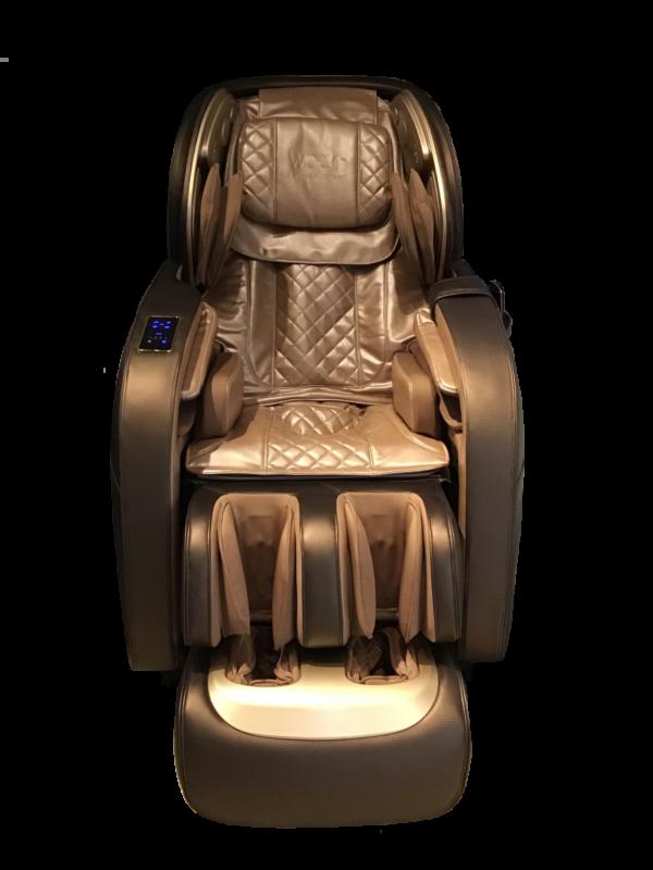 Massagestol-Apollo-brunt-guld-LED-ljus fra World of Comfort WOC - verdens bedste
