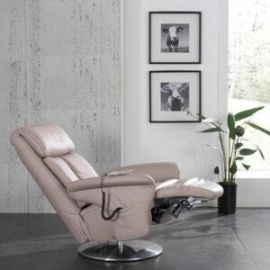 Vela Massagestol I beige tyskproducerad kvalitetsmassagestol i äkta läder