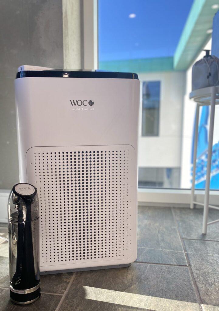 Helbred og sundhedspakke med Air comfort luftrenser og hydrogen waterbottle vandflaske